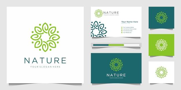 Elegant flower logo design line art.