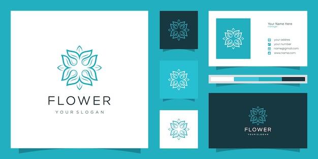エレガントな花のロゴのデザインラインアート。