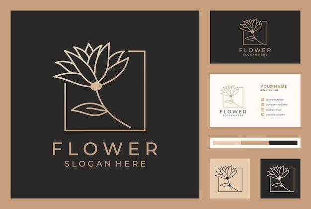 Elegant flower logo design in monoline style with business card template.