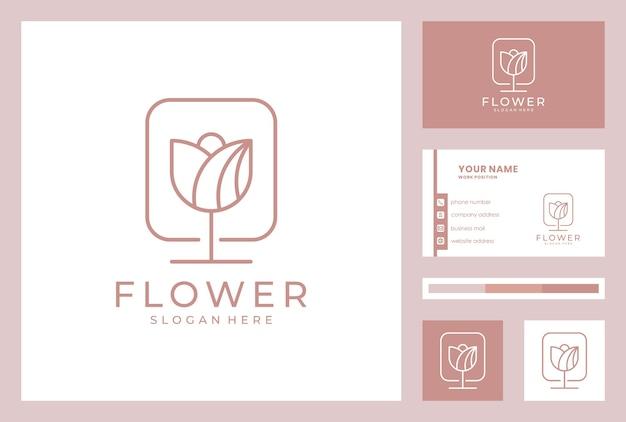 名刺テンプレートとエレガントな花のロゴのデザイン。