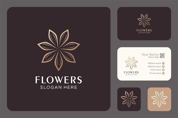 명함 서식 파일이 있는 우아한 꽃 로고 디자인입니다.