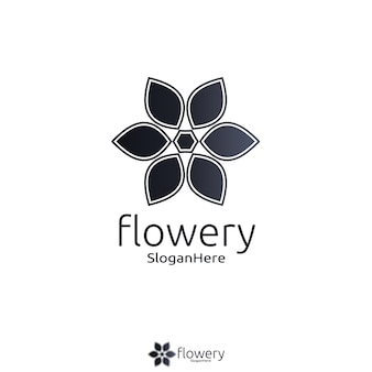 Elegant flower logo icon vector design with gradient black color design concept. looped leaves logotype design vector luxury fashion template.