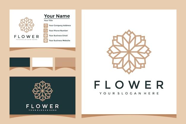 ラインアートスタイルと名刺デザインのエレガントな花のロゴ