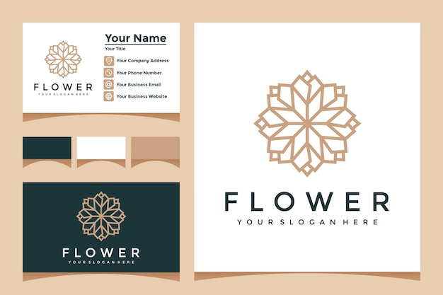 Elegant flower logo with line art style and business card design