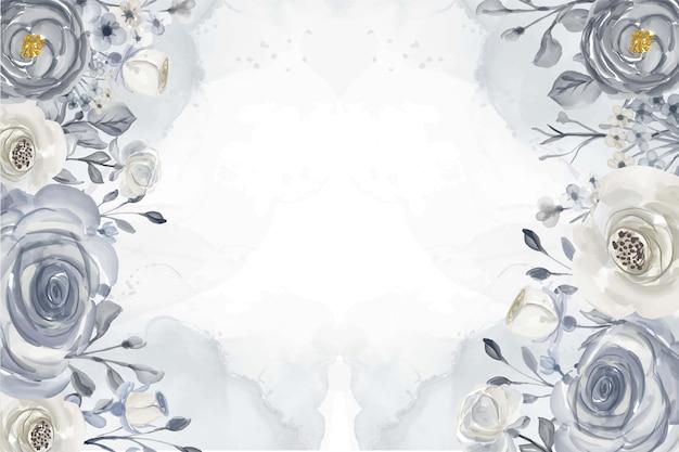 エレガントな花ネイビーブルーと白の水彩背景フレーム