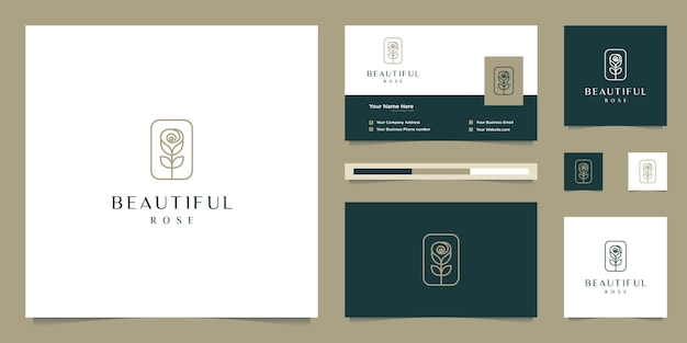 Elegant flower rose beauty, yoga and spa. logo design and business card