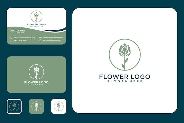 Элегантная цветочная роза дизайн логотипа и визитная карточка