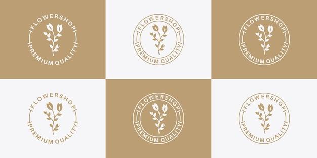 Элегантный винтажный дизайн логотипа цветочного магазина с золотым цветом