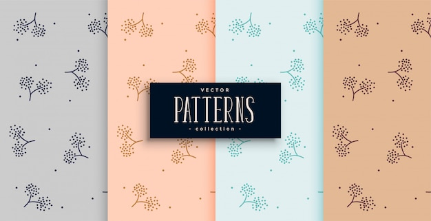 Elegant flower style fabric pattern background set