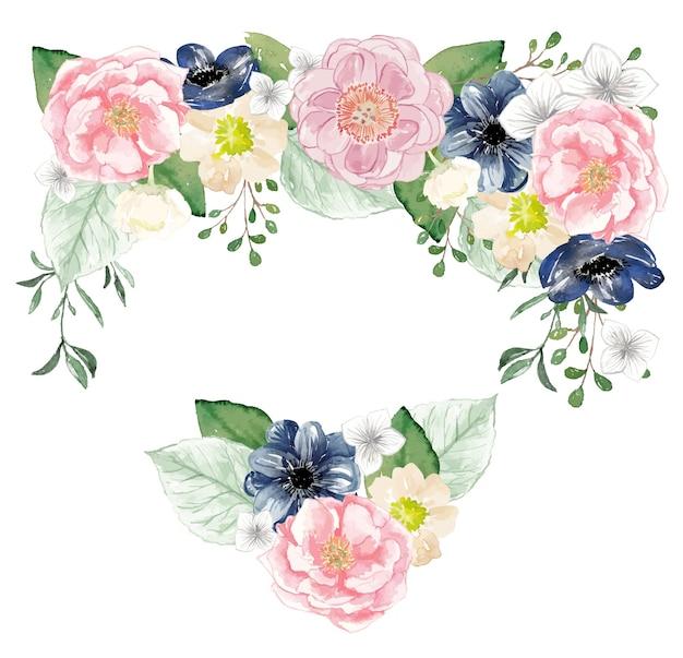 우아한 꽃 수채화 프리미엄