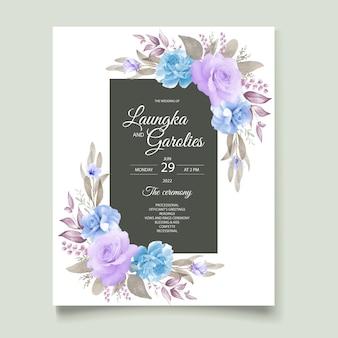 エレガントな花の結婚式の招待カード無料ベクトル