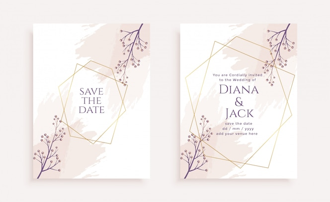 Elegant flower wedding invitation card template