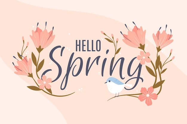 Elegant flowers and bird spring background