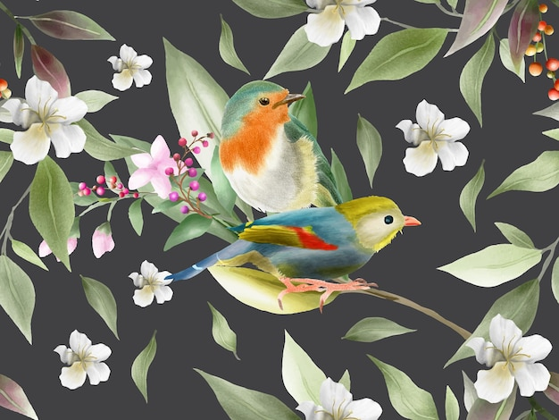 Elegant flowers and bird watercolor seamless pattern