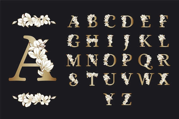 Elegant flowers golden alphabet