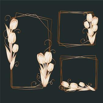 Elegant flowers golden polygonal frames