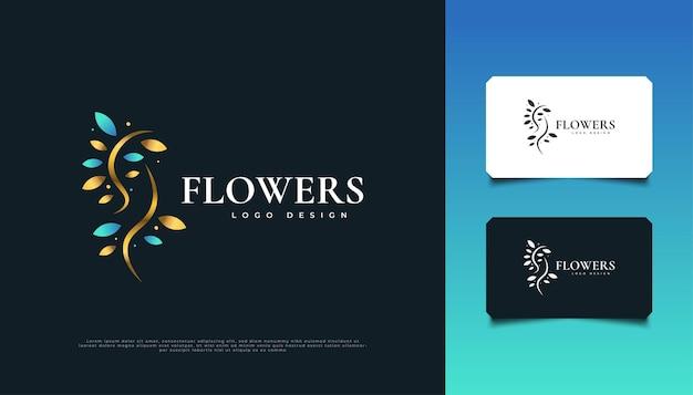 ブルーとゴールドのエレガントな花のロゴデザイン、スパ、美容、花屋、リゾート、または化粧品のアイデンティティに適しています