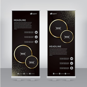 Elegant flyer with gold striped circles and sparkling spots