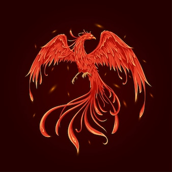 Elegant flying phoenix vector illustration