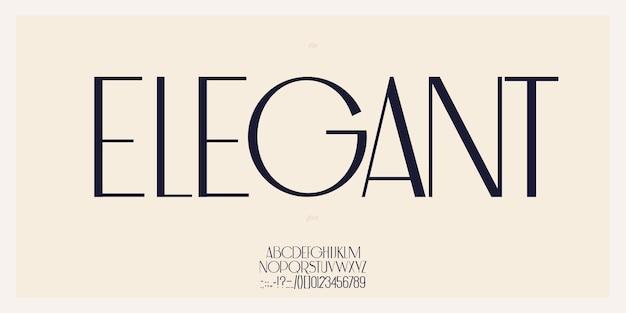 Элегантный шрифт в королевском стиле прописными буквами и цифрами. минимальный