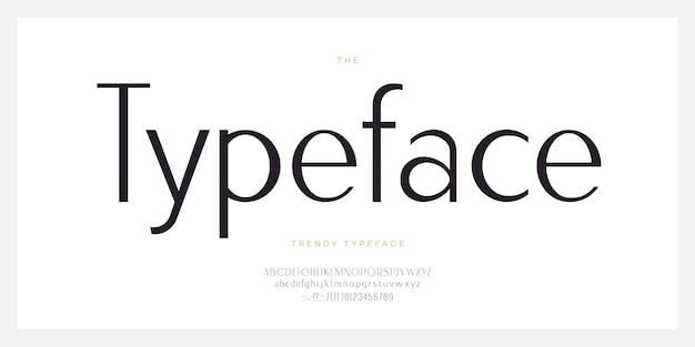 우아한 글꼴 산세 리프 스타일의 현대적인 타이포그래피 문자와 숫자. 대문자와 소문자. 최소