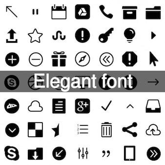 Elegant fonts icon set