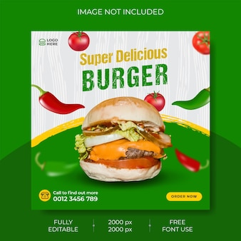 Elegant food menu social media instagram post template premium vector premium vector