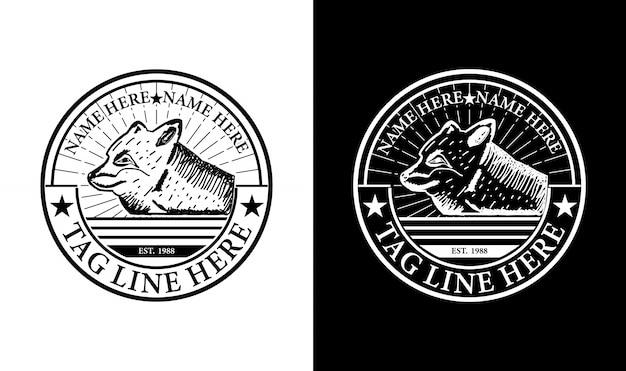 Элегантная лиса урожай ретро badge label эмблема логотип дизайн вдохновение