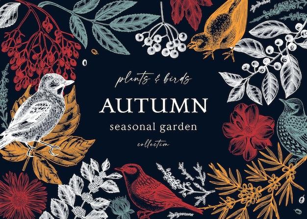 色の紅葉ベリーの花と鳥のスケッチとエレガントなフレームデザイン