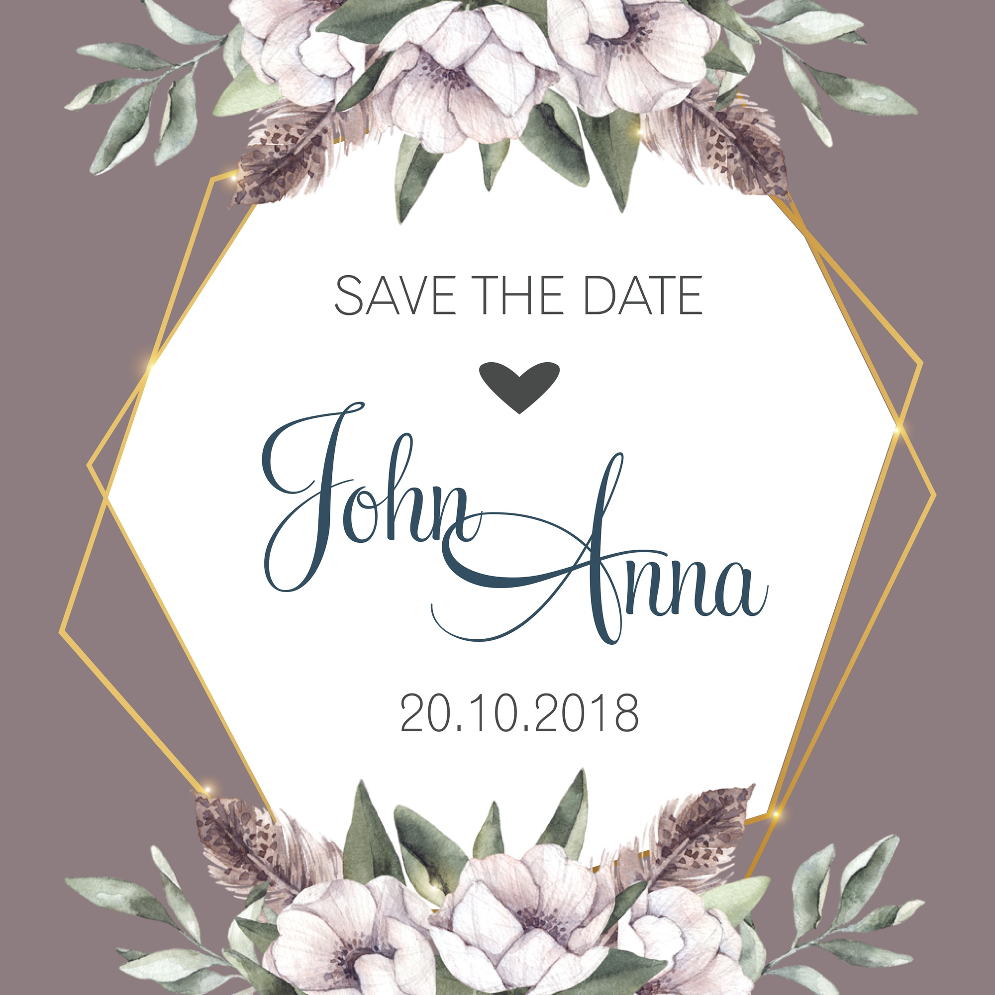 Elegant frame save the date with watercolor flowers