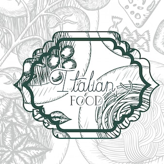 Elegant frame victorian with italian food