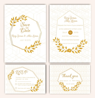 Elegant frame wedding invitation with gold flowers