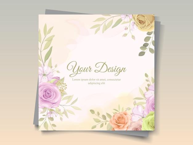 Элегантная рамка с красивыми розами и листьями арт