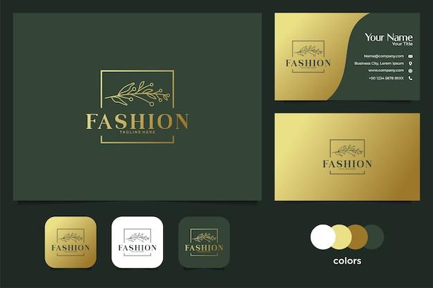 葉のロゴのデザインと名刺とエレガントなフレーム。ファッションロゴの良い使い方