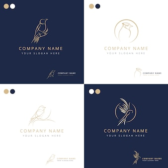 Elegant freestyle bird logos collection