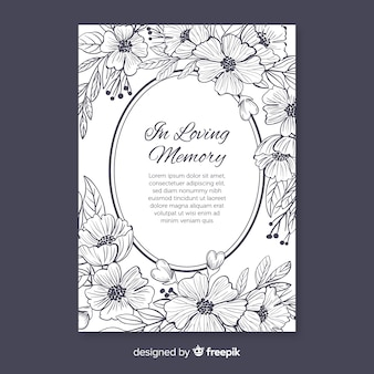 Elegant funeral invitation with floral style