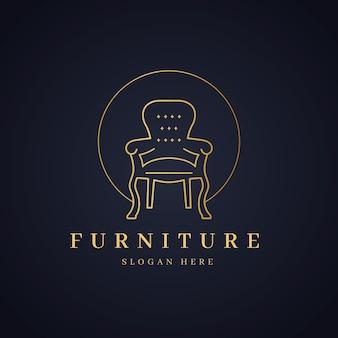Элегантная мебель логотип со стулом