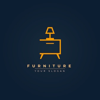 Elegant furniture logo with lamp