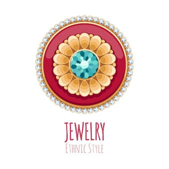 Elegant gemstones  jewelry decoration. ethnic floral vignette. good for fashion jewelry store  logo.