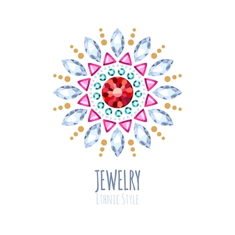 Elegant gemstones  jewelry decoration. ethnic floral vignettes. good for fashion jewelry store  logo.