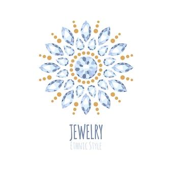 エレガントな宝石ジュエリー装飾。エスニック花柄ビネット。ファッションジュエリーストアのロゴに適しています。