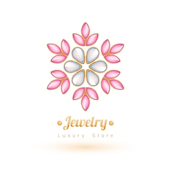 우아한 보석 보석 장식. 민족 꽃 장식 무늬. 패션 쥬얼리 스토어 로고에 적합합니다.