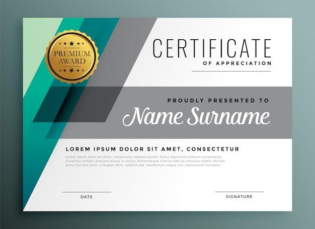 Elegant geometric certificate template