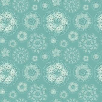 Elegant geometric floral seamless pattern over blue background