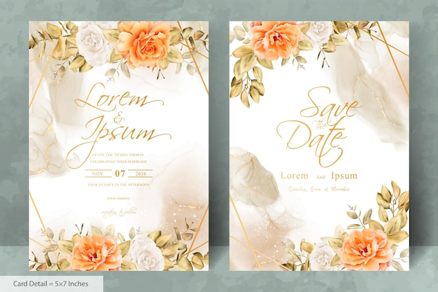 Элегантная геометрическая рамка свадебного приглашения шаблон с рисованной акварель цветок и эвкалипт