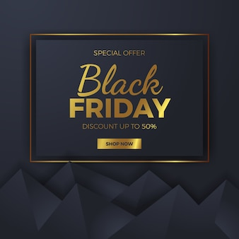 Elegant geometric triangle shape for black friday square sale offer banner template