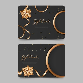 Elegant gift voucher design with golden style luxury gift card for promotion