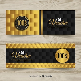 Elegant gift voucher template with golden style