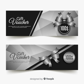 Elegant gift voucher template with silver style