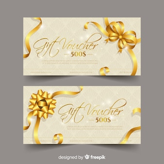 Elegant gift voucher with golden style